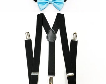 BLACK suspenders, bowtie, light blue bowtie, sky blue bowtie, black suspenders, children suspenders, boys suspenders, groomsmen suspenders