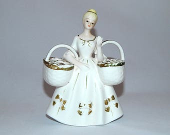 Vintage Double Double Bud Vase Figurine Mid Century
