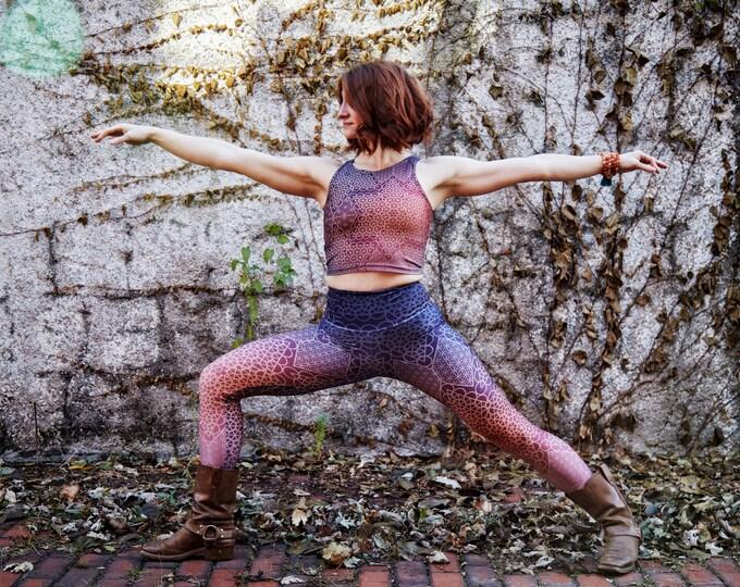 Ombre SACRED Geo FITNESS Yoga Leggings & Crop Top Set