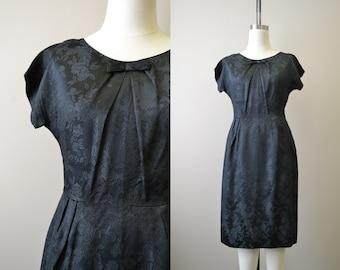 1950s Black Floral Satin Brocade Wiggle Dress