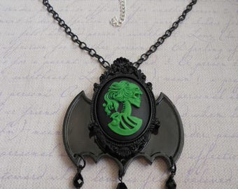 Gothic Lolita lady skull cameo in green with bat wings necklace and beads