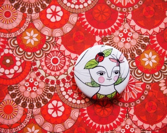 Pin button, Butterfly & ladybug pin, nature girl button brooch, button badge, gift for sister, pin buttons, gift for friend, badge, nature