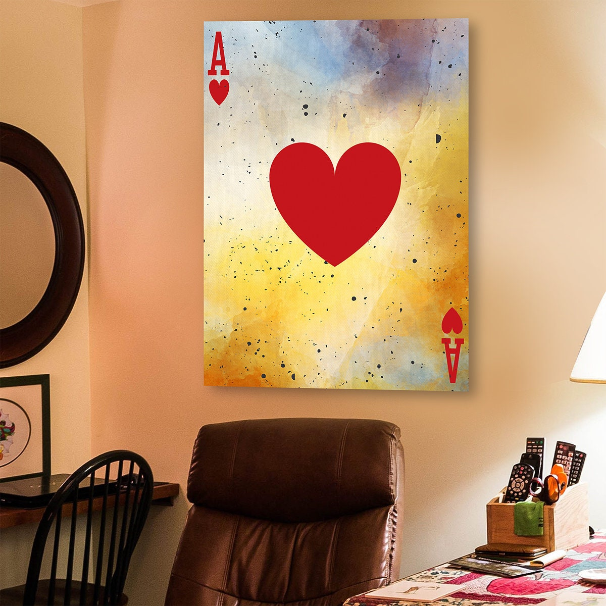 Ace Of Hearts Vintage Framed Canvas Wall Art Home Decor Poker
