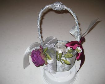 Blinged Out Silver Broom Collection: Flower Basket