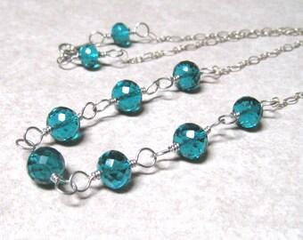 Dark Teal Necklace,  AAA Paraiba Quartz,  Handmade In Sterling Silver, Paraiba Jewelry
