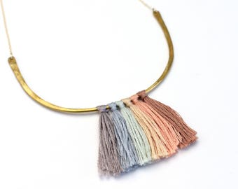 Pastel Rainbow tassel arc gold filled necklace brass statement jewelry gold filled ombre fabric hammered southwestern