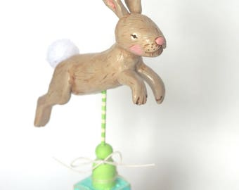 Spring Leaping Bunny on PINK block folk art sculpture from polymer clay