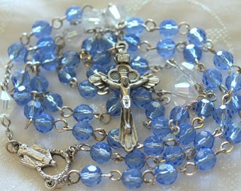 Blue Crystal Rosary - Miraculous Medal Rosary