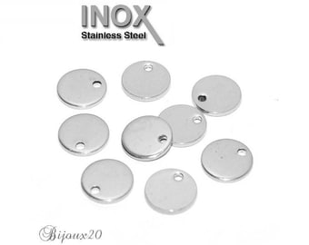 10 charms Sequin 8 mm stainless steel round plaqueLot M01854