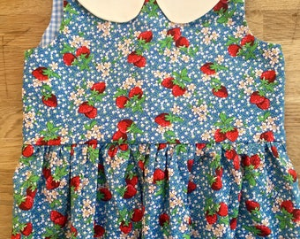 Blue Vintage Style Strawberries Dress with Peter Pan Collar and Sash