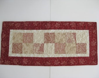 """Quilted Table Runner, Red Patchwork Table Runner, 14 1/2"""" X 32"""""""