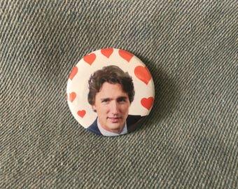 Justin Trudeau, Trudeaumania Pin, 1.5 inch pin back button, 37 mm pinback button