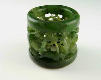 BANSHI Qing Dynasty Mens Thumb Ring Archers Ring Nephrite Jade Ring Antique Jade Ring Antique Mens Ring Natural Jade Mens Jewelry
