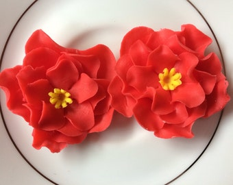 fondant flowers 12 red rose edible flowers cupcake toppers wedding cake topper birthday decorations valentine anniversary tropical