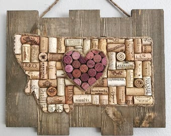 Wine cork art, State home sign, wine cork heart, rustic home decor, wine lover gift, wedding gift, housewarming gift, state sign, wall decor
