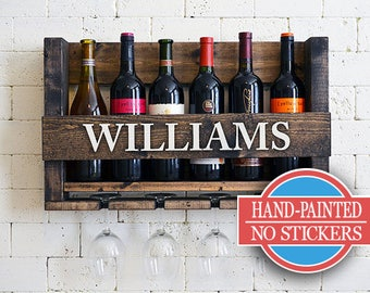 Personalized Wine Rack - Wall Hanging Personalized Gift - Family Name Wood Wine Holder - Organizer - Gift - Sale