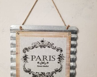 French Country Chic Wall Decor Paris Flower Market Shabby Chic Metal Wall Decor