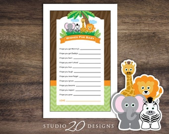 Instant Download Safari Wishes for Baby Shower Game Cards, Printable Jungle Wish for Baby, Lion Elephant Zebra Giraffe Baby Shower 57A