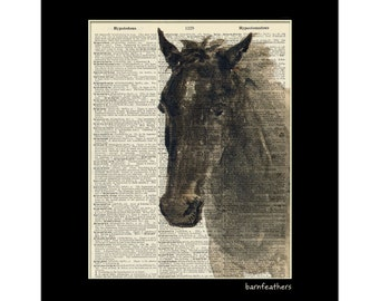 Vintage Dictionary Art Print - HORSE - Dictionary Page - Book Art Print No. P94