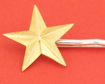 Large Brass Star Hairpin