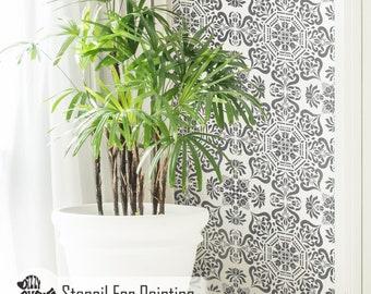 BUKHARA TILE STENCIL - Indian Mandala Wall Furniture Floor Craft Tile Stencil for Painting - BUKH02
