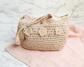 Natural straw bag | Straw woven bag | Boho straw handbag | Shoulder vintage bag