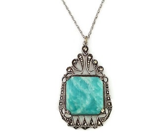 Sterling Marcasite Chrysoprase Art Deco Pendant Necklace - Speidel Chain, Green Stone, Art Deco Jewelry, Vintage Bride, Necklaces for Her