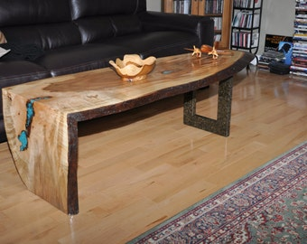 Live Edge Ambrosia Maple Coffee Table with Turquoise Inlay