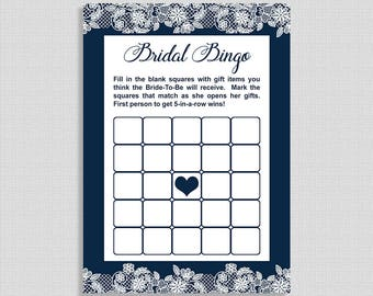 Bridal Shower Bingo Game, Navy & White Lace Wedding Shower Game, INSTANT PRINTABLE