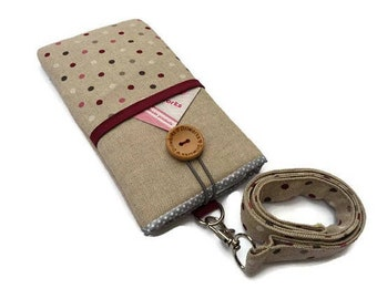 Neck pouch for phone, Dots Fabric phone Pouch Lanyard, Padded phone sleeve, Fabric phone case neck strap, gift for her, Women's Phone Sleeve
