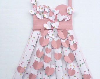 """Polka Dot and Hearts Vintage Style Paper Dress 26"""" x 18"""" Hand folded, Hearts, Nursery Wall Hanging, Girl's Bedroom, Wall Art"""