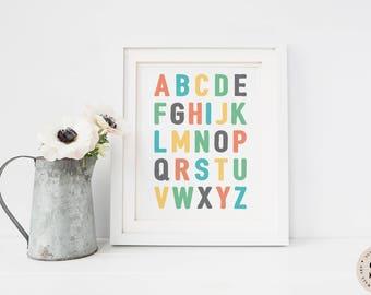 Alphabet Print — Nursery Alphabet Print ABC Letters Print Alphabet Colorful Print Children Printable Wall Art Poster Print INSTANT DOWNLOAD