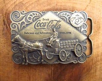 Vintage Coca Cola Belt Buckle No 2- Horse and Cart Coca Cola Brass Belt Buckle - Bergamot Brass Works - Bottle Opener Belt Buckle