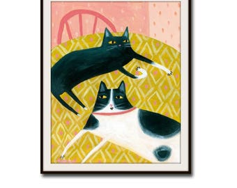 PRINT two cats on a table CUTE Black cat and spotted cat sweet cat folk art cat poster print from painting by Tascha