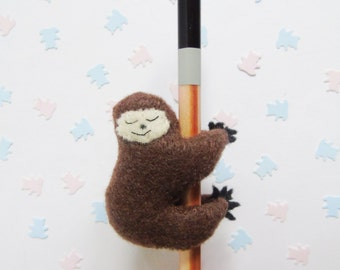 Sloth Pencil Topper/Hugger - Felt Plush