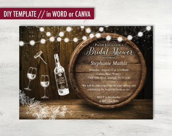 Printable Wine Tasting Bridal Shower Invitations, Rustic, DIY Wine theme bridal shower, wine shower invitation, bridal shower invitation