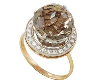 Gold Ring, Smoky Quartz Ring, Gemstone Ring, Cubic Zirconia