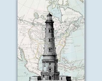 Lighthouse poster, Lighthouse Map Art, Nautical Art, Lighthouse, gift for sailors, Beach cottage decor, coastal art decor, nautical decor