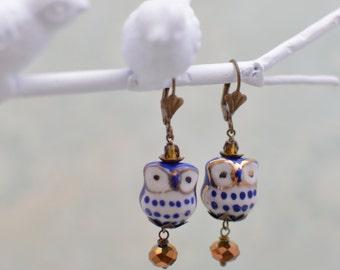 Blue & White Porcelain Owl Earrings *As Seen in Bird Talk Magazine*