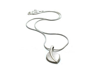 Silver Leaf  Pendant  Necklace ,  Sterling  Snake Silver Chain