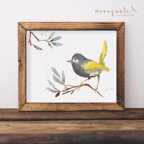 BIRD I  illustration Watercolor Collection, art print birds, animals, nature, elegant birds, gray and yellow,home decor,sweet birds painting