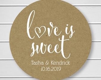 Love is Sweet Wedding Stickers, Rustic Wedding Seals, Wedding Stickers, Kraft Wedding Stickers (#121-KR-WT)