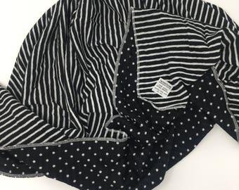 Black & White Reversible Swaddle   Stripes and Polka Dots Swaddle  