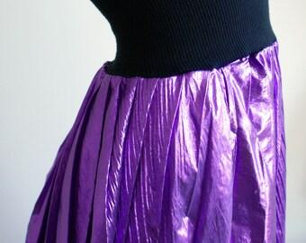 Rare Swanky Modes vintage 1970s/1980s deep purple lurex pleated skirt