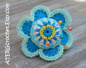 Crochet PINCUSHION FLOWER RING by ATERGcrochet