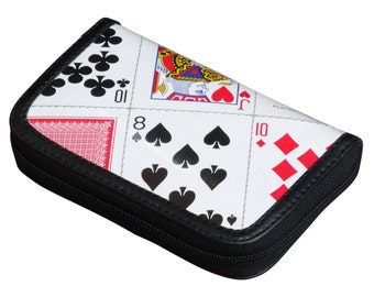 Small playing cards zip wallet, FREE SHIPPING, Upcycled  zip wallet, vegan wallet, Minimalist Credit Card Wallet, zipper wallet