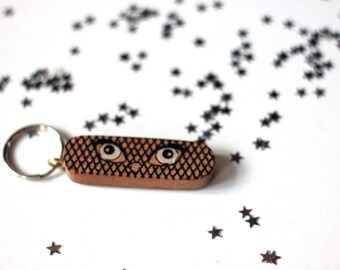 Bird eye key ring fob can be personalised.