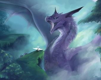 Fantasy sky Dragon and Angel, High quality Giclée Art Print