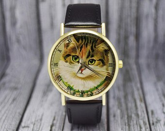 Vintage Style Kitten Watch | Cat Watch | Leather Watch | Ladies Watch | Men's Watch | Gift Ideas | Wedding | Birthday | Fashion Accessories