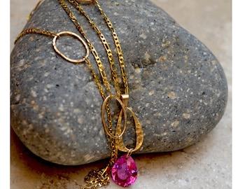 Pink Topaz Necklace. Large Hot Pink Topaz Gold  Circles Chain Necklace. Pink Topaz Teardrop Pendant. Fine Jewelry. November Birthstone
